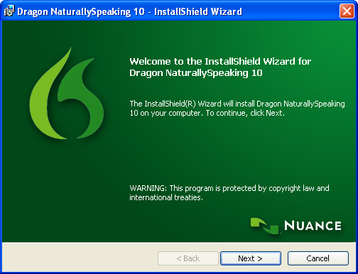 Installing Philips Dragon NaturallySpeaking DVR Edition