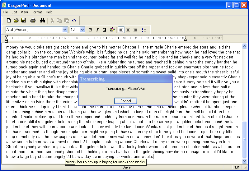 Dragon NaturallySpeaking transcribing audio recorded on a Philips Digital Voice Tracer 660 - LFH0660