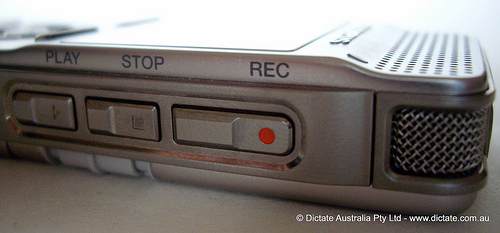 Olympus DM-450 DM-550 Record Stop Play Buttons Located On The Side