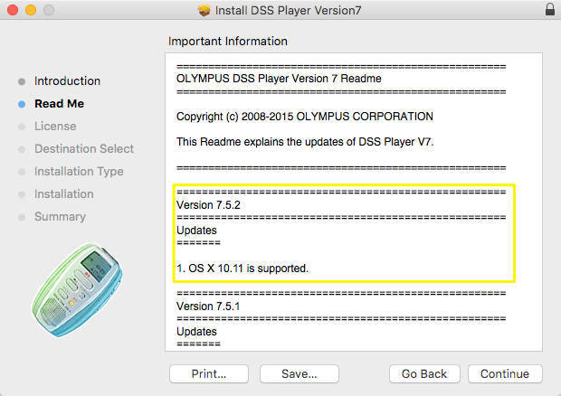 Olympus Mac OSX 10.11 DSS Player Supported 7.5.2 Update
