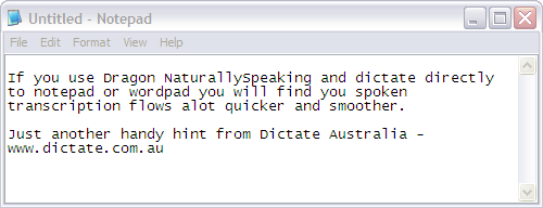 Use Notepad or Wordpad for faster transcription with Dragon NaturallySpeaking