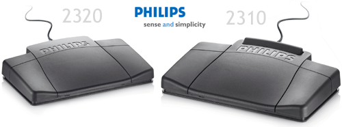 Ergonomic design of the Philips 2310 and 2320 USB Foot Control - Express Scribe Compatible