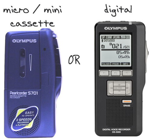 What is the difference between micro mini cassette and digital dictaphone voice recorder?