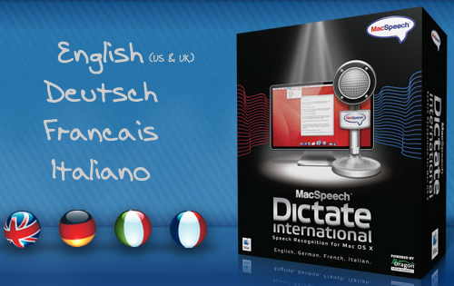 MacSpeech Dictate International - Mac Voice Recognition Software with French, German and Italian Language Support
