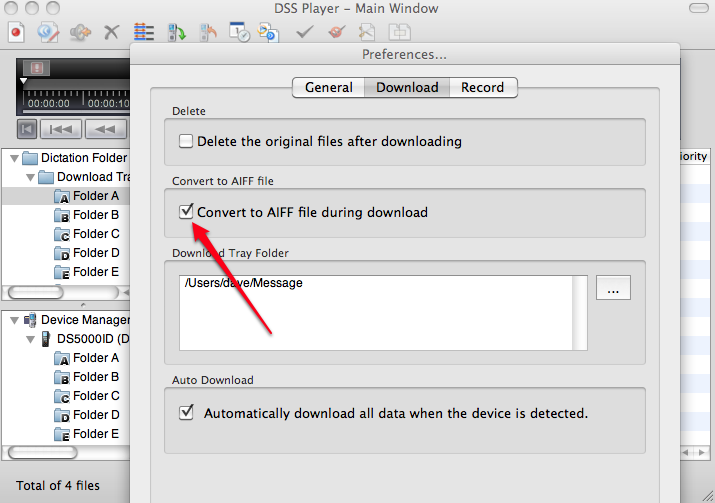 DSS Player Version 7 Plus Automatically converts digital audio .ds2 .dss to AIF AIFF on Mac