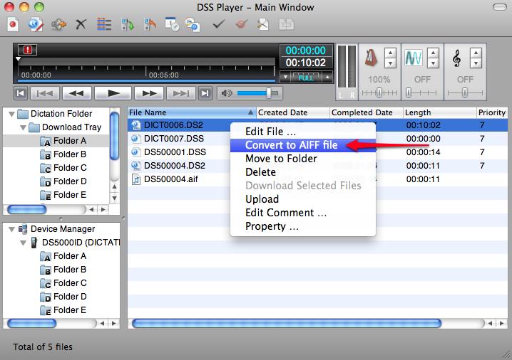 Olympus DSS Player Version 7 Plus Mac - Convert DSS DS2 to AIF AIFF Format Digital Audio