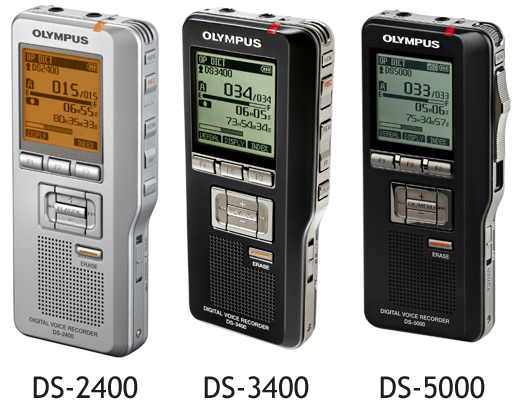 Olympus range of professional digital dictaphones - DS-2400 - DS-3400 - DS-5000 - DS-5000iD