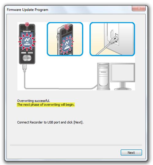 Olympus DM3 / DM5 firware update on Windows - Step 5