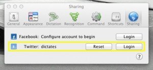 Configure Dragon Dictate for Mac for sharing with twitter and Facebook