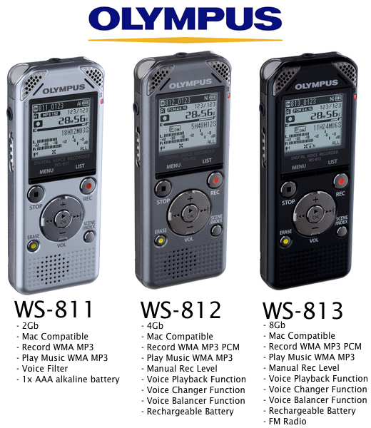 New WS Series Digital Voice Recorders From Olympus - WS-811 - WS-812 - WS-813