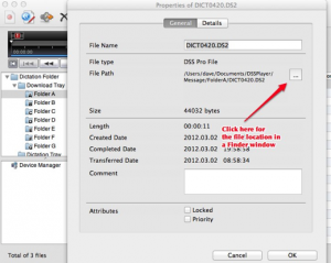 Find location of Olympus dss ds2 audio files on your Mac in Finder