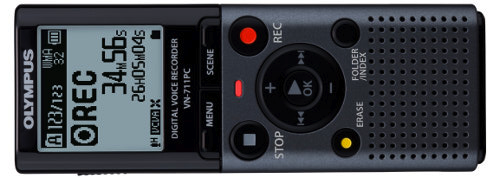 Olympus VN-711PC digital voice recorder, ideal for recording audio books