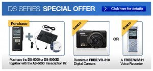 Olympus Pro Bundle DS-5000 / AS-5000 - Free Camera or WS Series Recorder