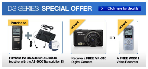 Olympus Australia DS Series Special Offer - Olympus Pro Bundle DS-5000 / AS-5000 - Free Camera or WS Series Recorder
