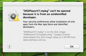Apple Mac OS X 10.8 Mountain Lion Error Can't Be Opened Because It Is From An Unidentified Developer - Olympus