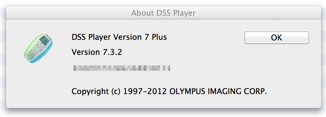 Olympus DSS Player Plus version 7.3.2 for Mac OSX 10.8 Mountain Lion - Free Upgrade Update