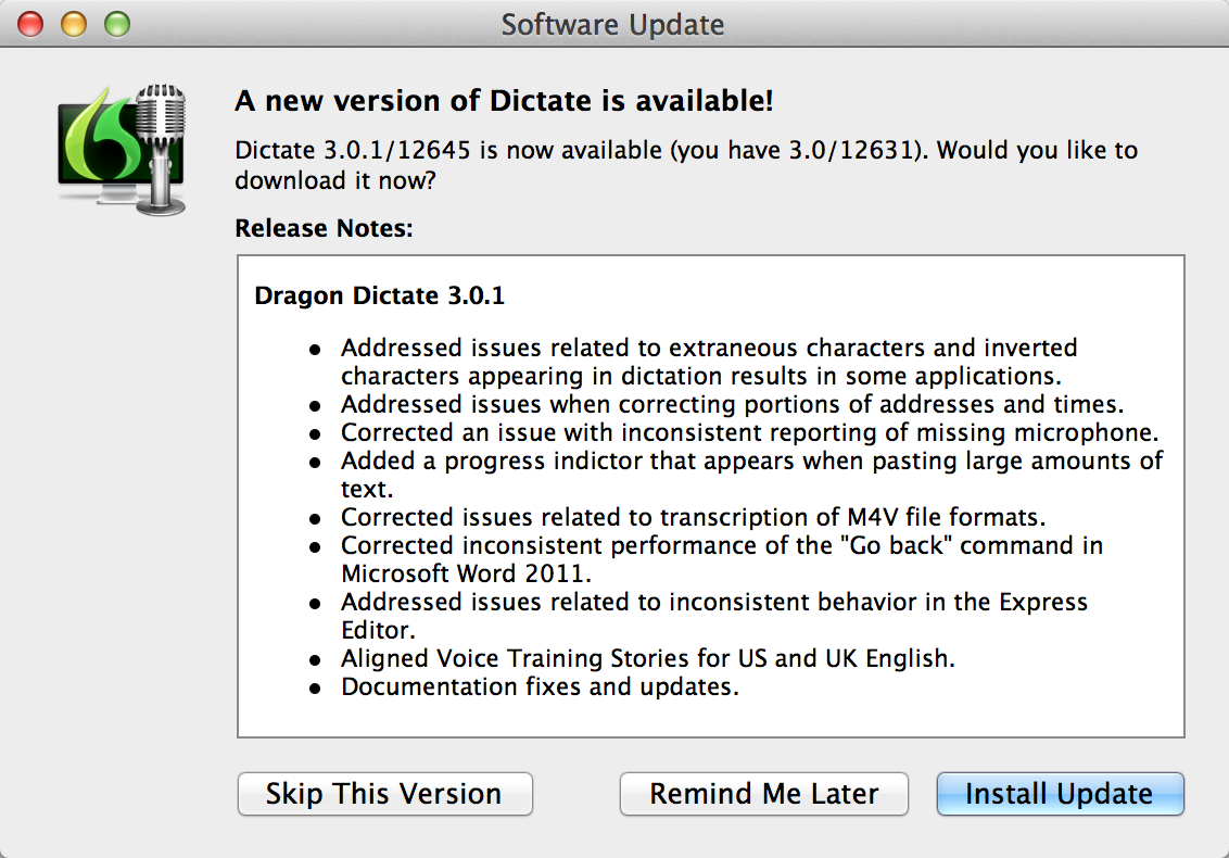 Nuance Dragon Dictate 3 Mac Free Update Upgrade to Version 3.0.1