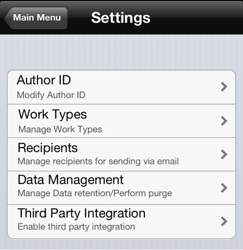 Hugo iPhone Dictation Recorder App Settings