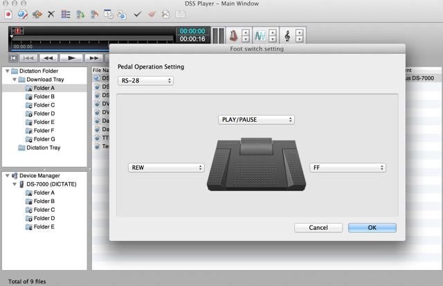 Olympus DSS Player Plus digital transcription USB foot pedal control settings Mac