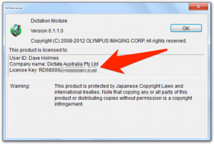 Olympus ODMS DSS Player Pro dictation module licence key serial number