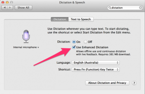 OS X Mavericks Enhanced Dictation