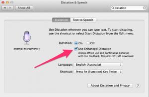 Enhanced Dictation language pack download