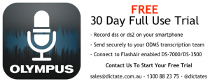 Olympus Dictation iPhone iOS Android App - Free trial subscription to ODDS