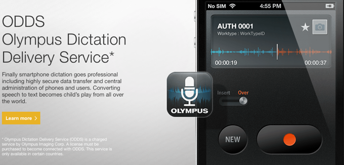 Olympus ODDS App for SmartPhone digital dictation
