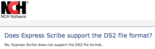 Express Scribe - Does Not Support ds2 Audio Files