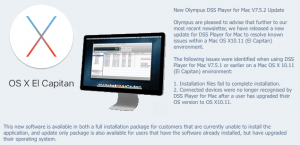 Olympus DSS Player Mac v7.5.2 OSX 10.11 El Capitan Compatible Update