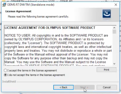 Olympus ODMS R7 Dictation Transcription Module Install Licence Agreement